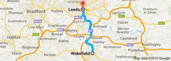 Map of Leeds and Wakefiled,all areas covered by Aegis Care